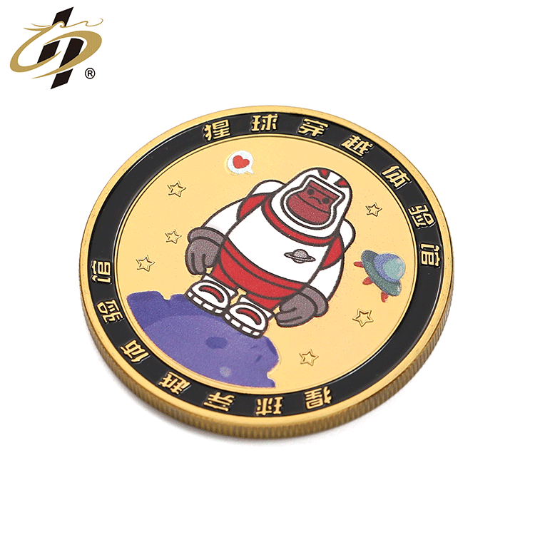 Shuanghua custom gold plated metal 3d print enamel own logo souvenir coin for sale