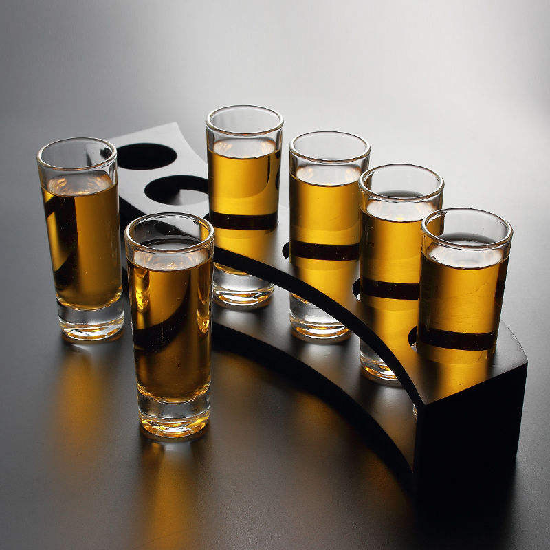 SG-056 shot tray glass set, cheap machine made shot glass, wholesale shot glass with wooden holder