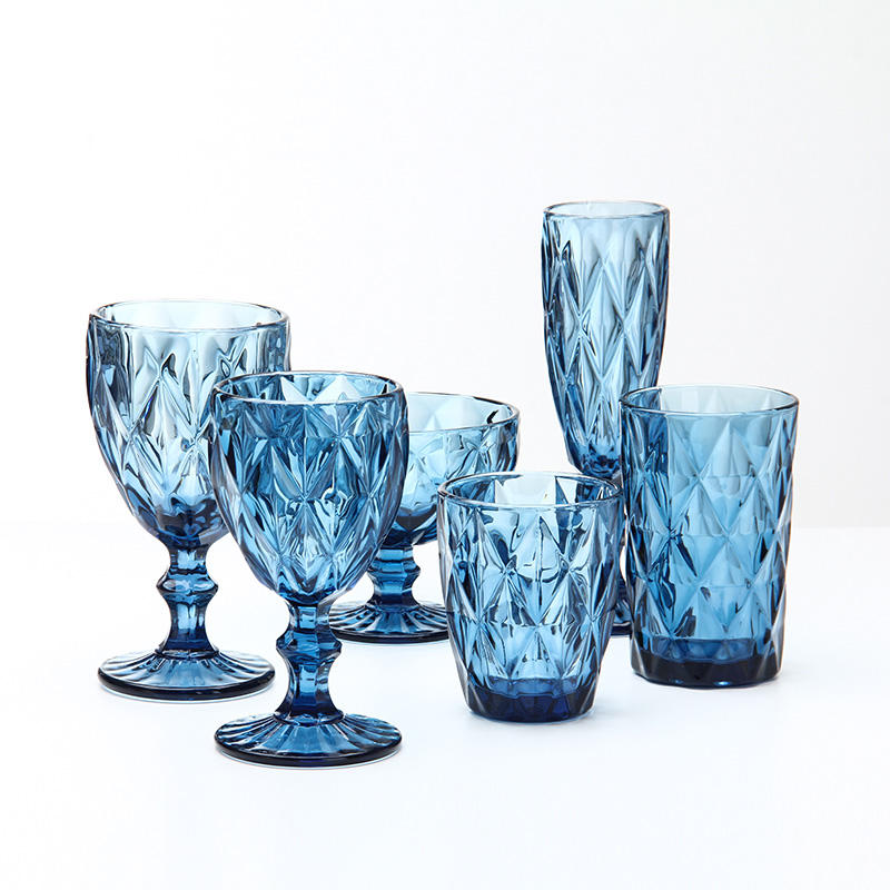 7pcs colored glassware set(Colored glass pitcher/ water tumbler/ wine glass goblet)