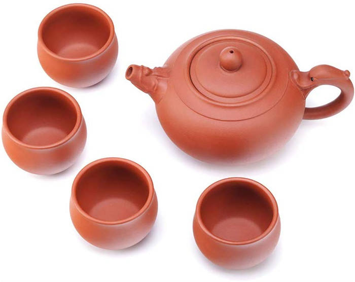 handmade ceramic teapots Handmade Yixing Zisha Tea Set,Large Capacity Ceramic Teapot with Set of 4 Tea Cups,Faucet Ruyi Tea Pot,
