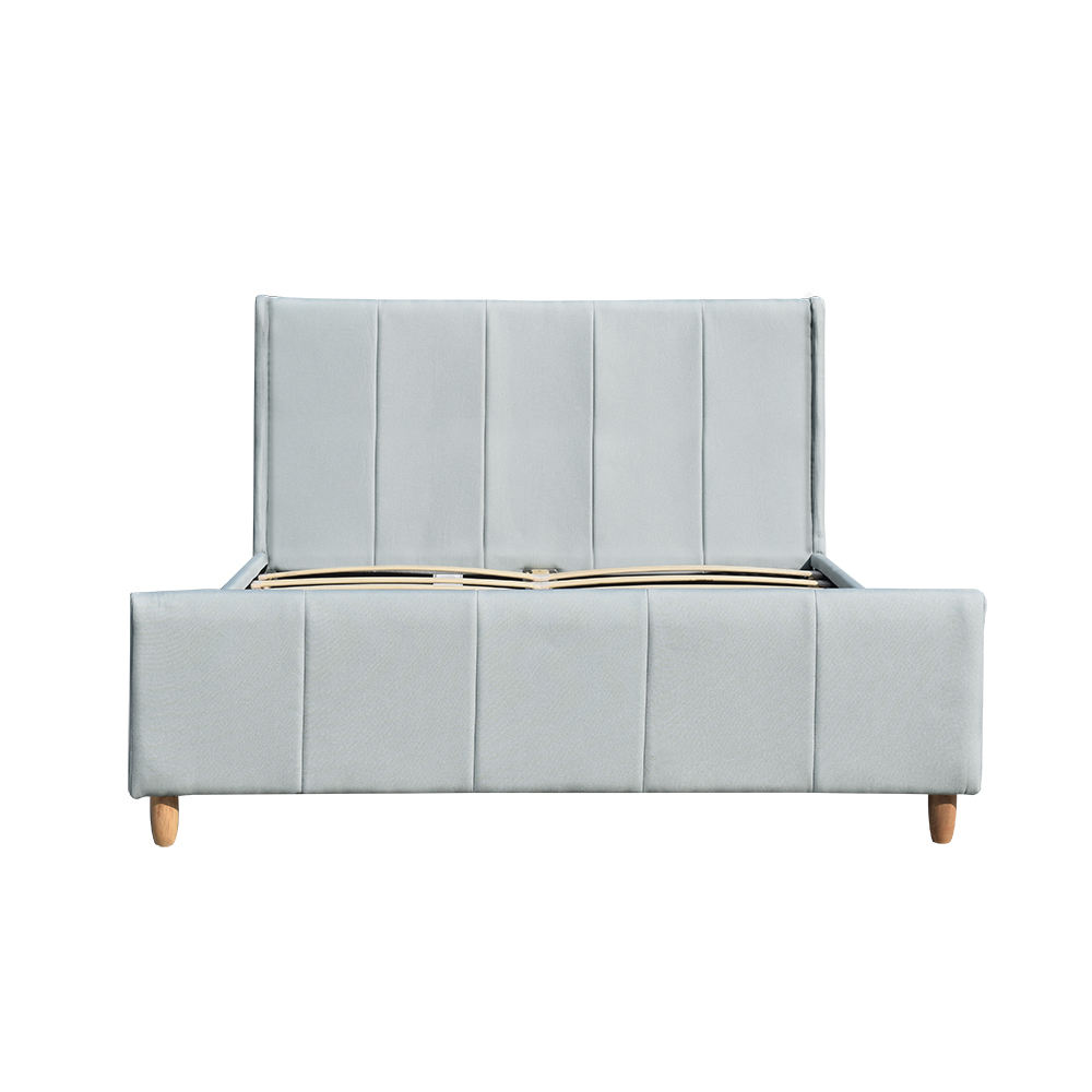 Wholesale Linen Fabric Double Size Platform Modern Upholstered Bed for Bedroom Furniture