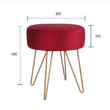 Modern Round Velvet Upholstered Ottoman Stool With Gold Base