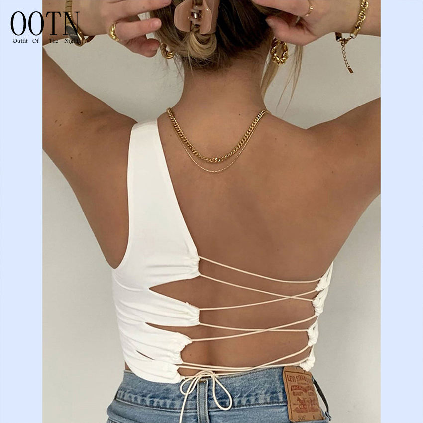 OOTN Femme Crop Tops Slim Soft Vest Tee Women Summer Korean Club Party Wear Camisole Sexy Hollow Backless White Black Tank Top