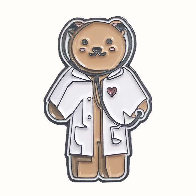 Cheap customized dyed black metal cute doctor bear soft lapel enamel pin