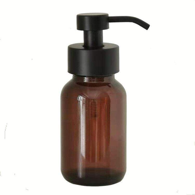 Wholesale hot selling 250ML black or amber glass foam pump soap dispenser