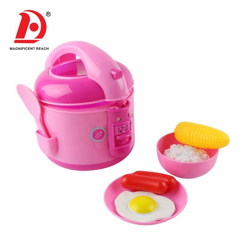 Best Selling Pretend Play Cook Item Pink Plastic Intelligence Rice Cooker Dream Mother Garden Kitchen Food Toy Set for Kids