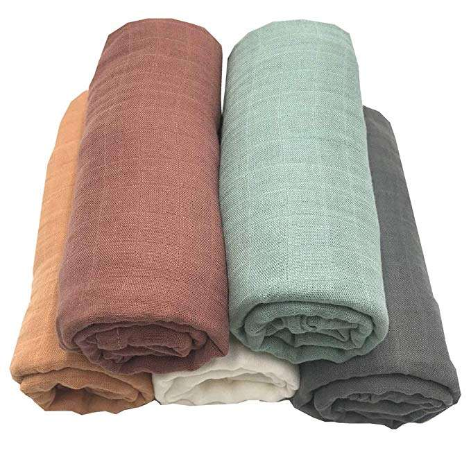 Gots Certificated Private Label Solid Color Dyeing Organic Cotton Bamboo Baby Swaddle Muslin