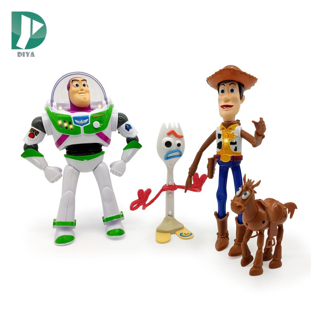 Buzz Woody light sound toys kids electric 4 pcs toy story figure buzz electric toys for children
