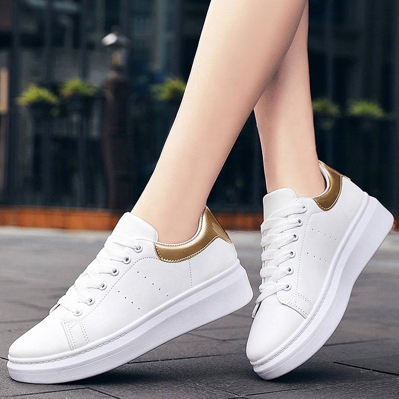 PU leather sneakers casual flats white tennis shoes woman sport female shoes women sport sneakers zapatos deportivos de mujer