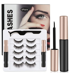 5 Pairs Reusable Magnetic Eyelashes with 2 Tubes of Magnetic Eyeliner and Tweezers Inside