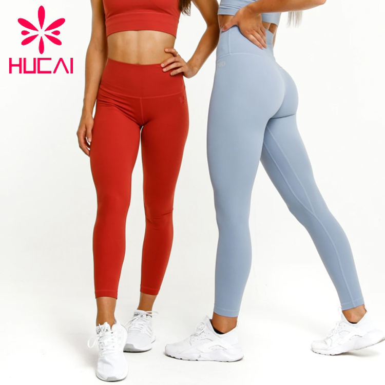 Custom Wholesale Ladies fitness clothing gym wear nylon spandex high waisted sport workout womens leggings yoga pants