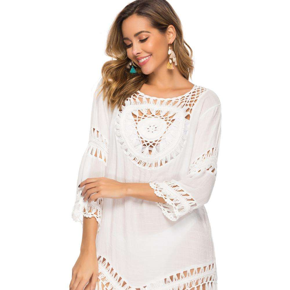 Hand Haak Grote <span class=keywords><strong>Ronde</strong></span> Splicing Losse Kwastje Vakantie Stijl Strand Blouse