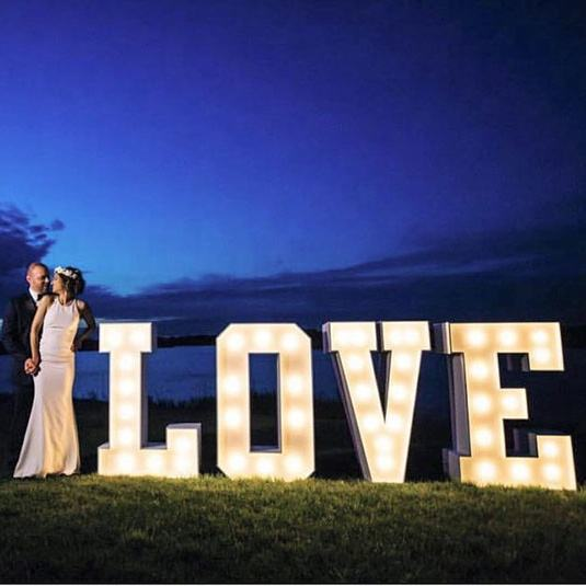 Outdoor 4ft Vintage white LED marquee letters love Bulb Sign lights wedding letters