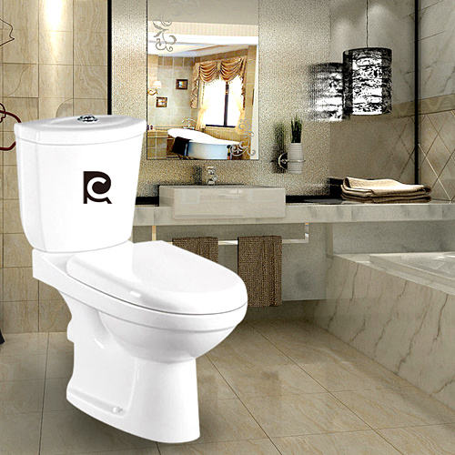 Bathroom Washdown two-piece toilet Africa Twyford P-trap Closet ceramic gravity flushing cheap wholesale Ghana WC