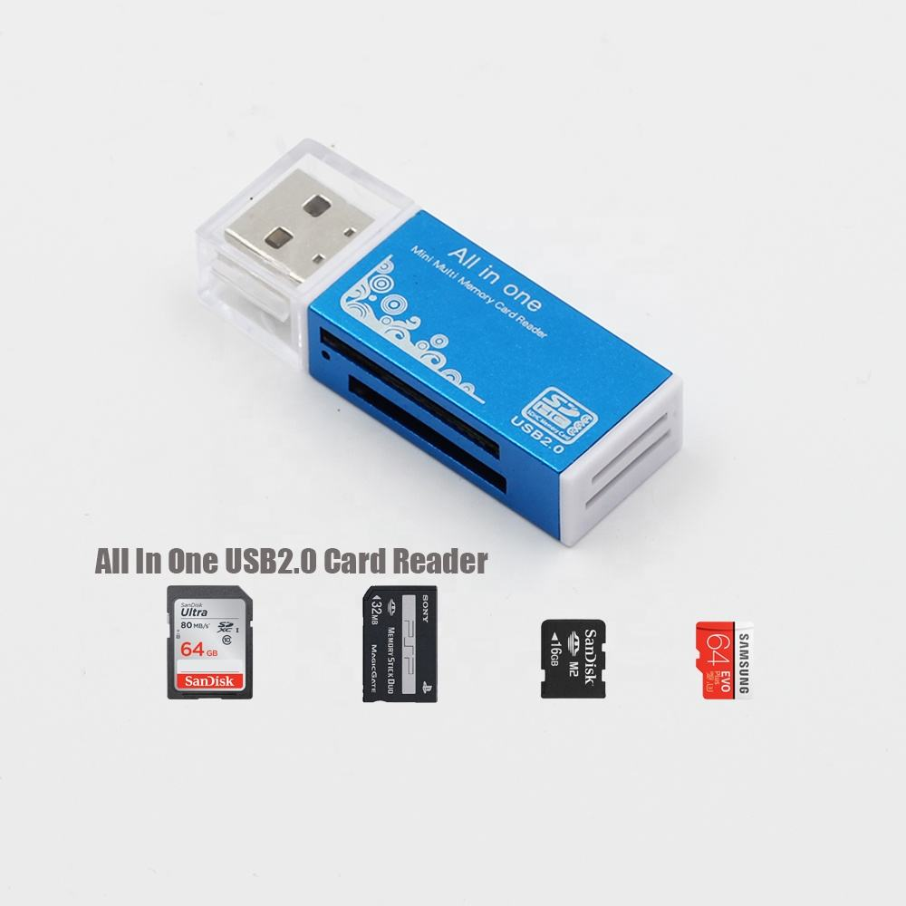 Ceamere CR42 All In One USB 2.0 Micro TF SD MS MMC Flash Memory Card Reader Aluminum Alloy Smart Card Reader