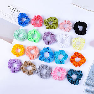 Yucat Wholesale Women Elastic Ponytail Holders Hair Accessories Hair Ties Solid Color Cheap Velvet Hair Scrunchies For Girls