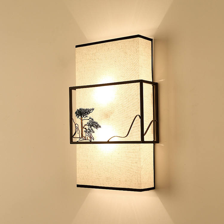 Modern indoor bedroom bedside lamp embroidery cloth art lamp shade 6w led reading wall lamp