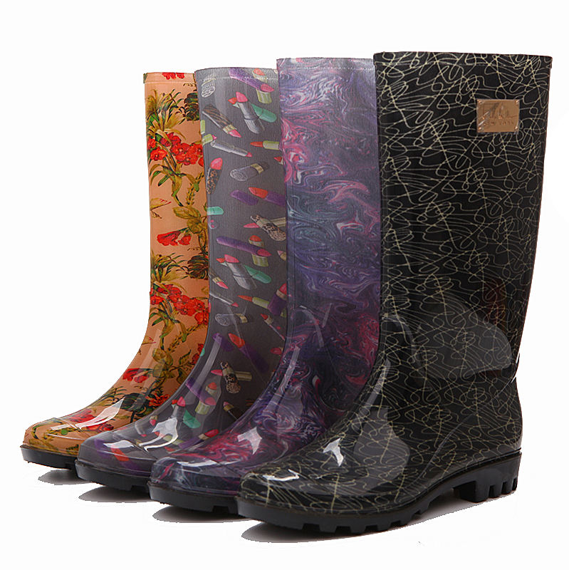 ladies hongkong pvc over the knee high rain transparent horse wellies boots for women
