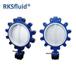 good quality with cheap price Cast iron PTFE fully coated butterfly valve worm gear wafer lug type