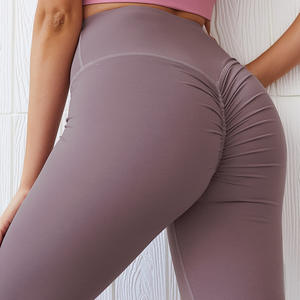 Womens Fitness Apparel Elastic Recycled Supplex High Waisted Leggings Butt Lift Scrunch Booty Yoga Pants
