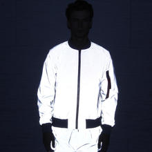 NEW Fashionable light-sensitive color-changing high-grade fabric ZIP up Luminous reflection glow man jacket