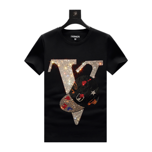 Custom black cotton rhinestone sequin short sleeve t shirt for men