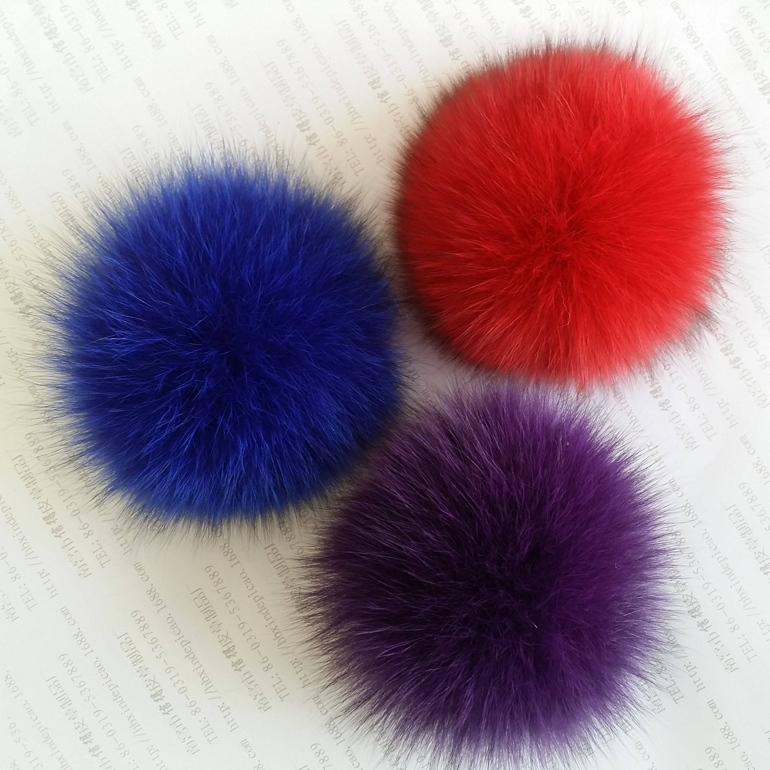 Natural furry real fox fur pom poms as keychain charm