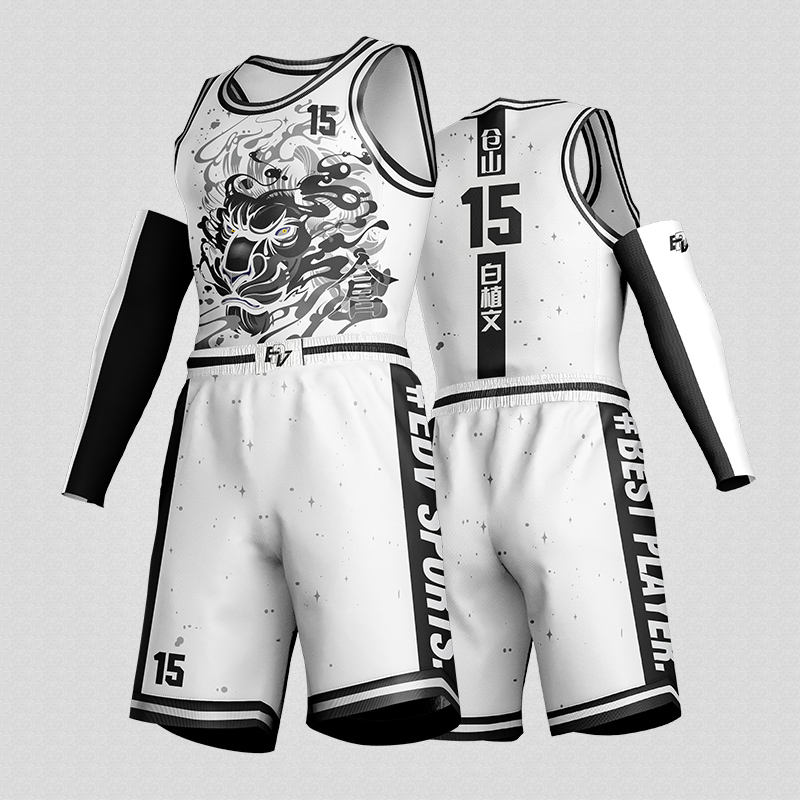 Custom high quality dye sublimated youth basketball wear jersey uniform men white and black color set for sale