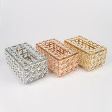 Factory Hot Selling Metal Table Decorations tissue holder European Crystal Tissue box for Restaurant