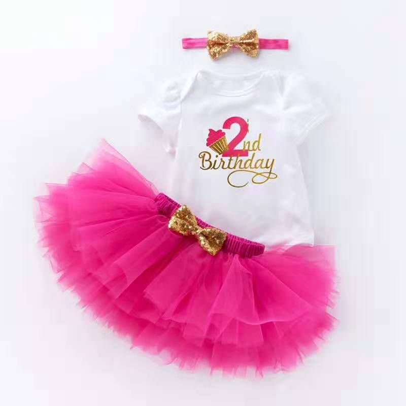New Birthday Dresses Baby Girl 1 Year Old. Baby Birthday Outfit 3Piece For Girl