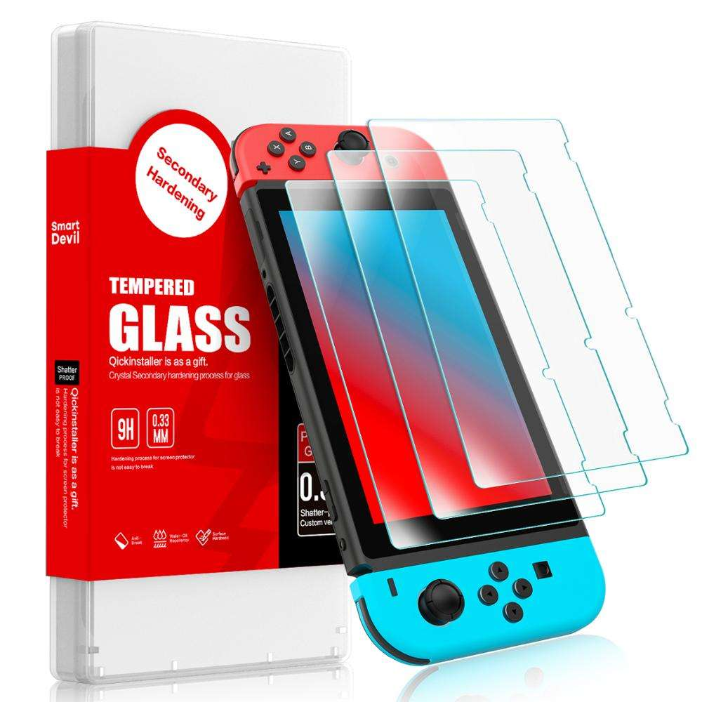 Amazon Bestseller 2.5D 0.33 Mm 9H Clear Gehard Glas Game Player Screen Protector Voor Nintendo Switch