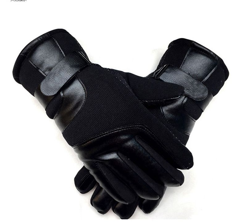 Winter men plus velvet thick warm gloves winter touch screen leather gloves outdoor sports non-slip cotton gloves