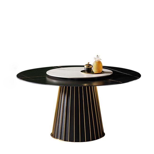 Nouvelle arrivée de luxe 6 <span class=keywords><strong>chaises</strong></span> noir moderne plateau tournant rond en marbre table à manger ensemble de table