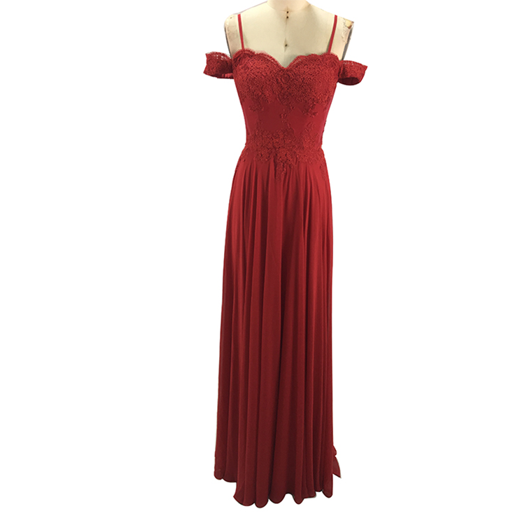 Evening Dresses Red Long Bridesmaid Dresses Wholesale Sweetheart Neckline Off-the-shoulder Backless Sexy for Bridesmaid Taffeta