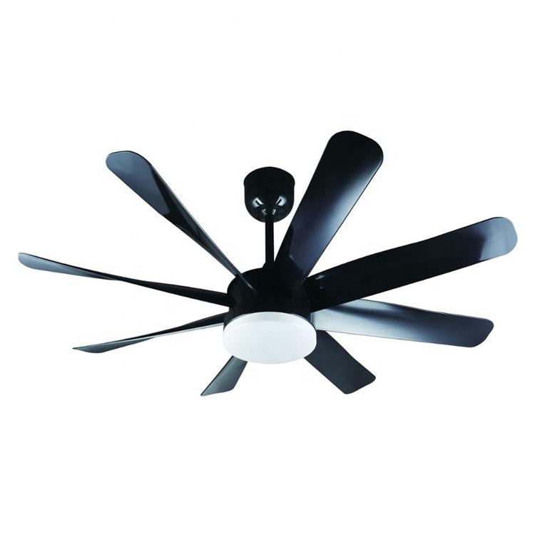 Best selling 6 speed remote control 8 plastic blade pure cooper motor electric big size black industrial ceiling fan