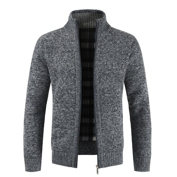 Winter New Men's Simple Cardigan Sweater High Quality Slim V-Neck Knit Jackets