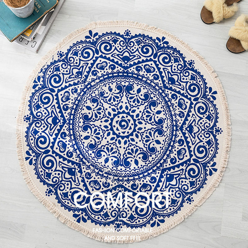 Wholesale Anti-slip Absorbent Hand woven Vintage Printed Cotton Linen Canvas Round Rug For Living Room Bedroom Balcony