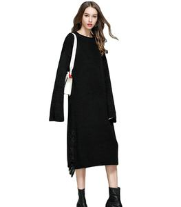 Casual Long Knit Dress O-neck Long Sleeve Black Solid Sweater For Women