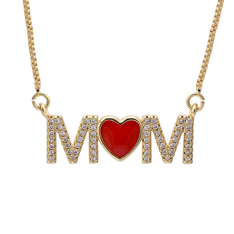 I Love Mom Red Enamel Heart Pendant Necklaces Women Family Mother's Gift Box Chain CZ Zircon Letter Necklace Jewelry