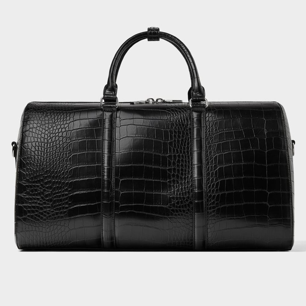 custom logo black crocodile pu leather travel outdoor weekender duffle luggage bag for man