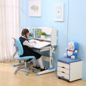 Wholesale Children Baby Furniture Sponge Fabric Seat Kids Swivel Study Learning Table Chair