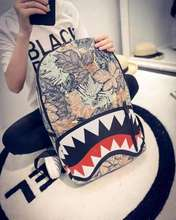 Personality tide men's backpack Shark big mouth backpack Hip hop trend Middle school student canvas bag wholesale