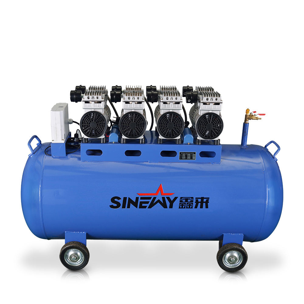 Top manufacturer free sample high pressure mobile piston 200L silent oilless air compressor