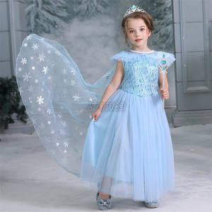 Baru Kedatangan Beku Elsa Dress 2 Pcs dengan Removable Jubah Beku Gadis Pesta Cosplay Gaun Grosir