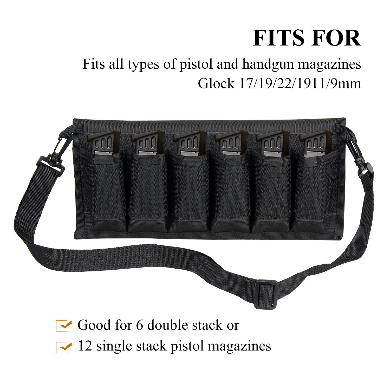 Airsoft Molle Magazine Pouch with 6 Mag Holder Shoulder Bag Case for 9MM 1911