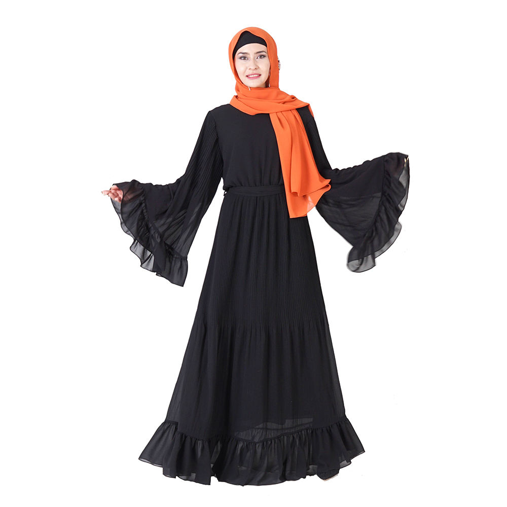 2020 new model 4 colors stitching solid color fashion Muslim loose women dress fashion chiffon black abaya