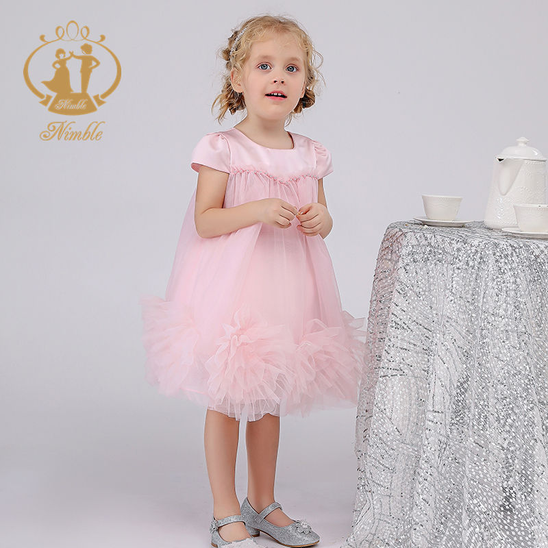 China Nimble Wholesale Children's Clothing New Flowers T/C Lining Floral Dress For 2Year Old Girl Dress Fancy Kids Dress