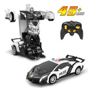 DEERC Transform RC Car Robot Deformation Police Car Toy Transforming Robot Remote Control Car for Kids