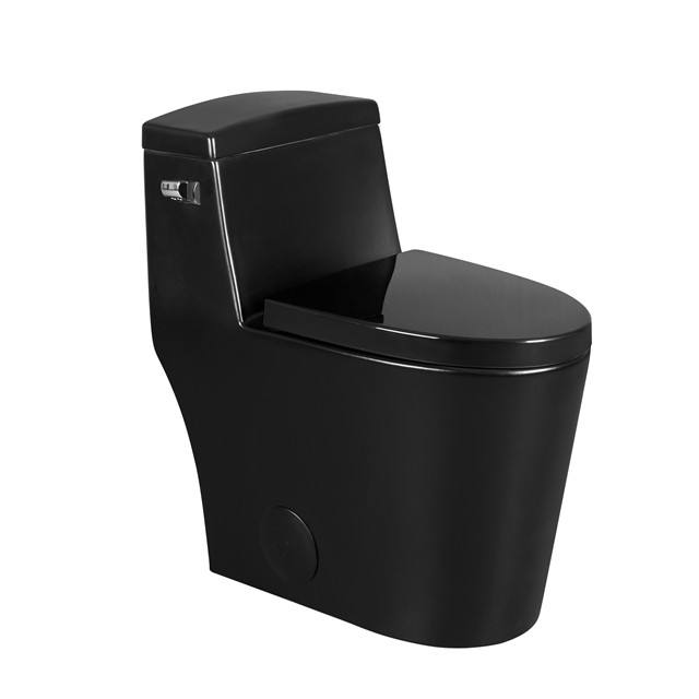 Sanitary Ware Bathroom China Cheap Portable WC Water Closet Siphonic One Piece Black Toilet