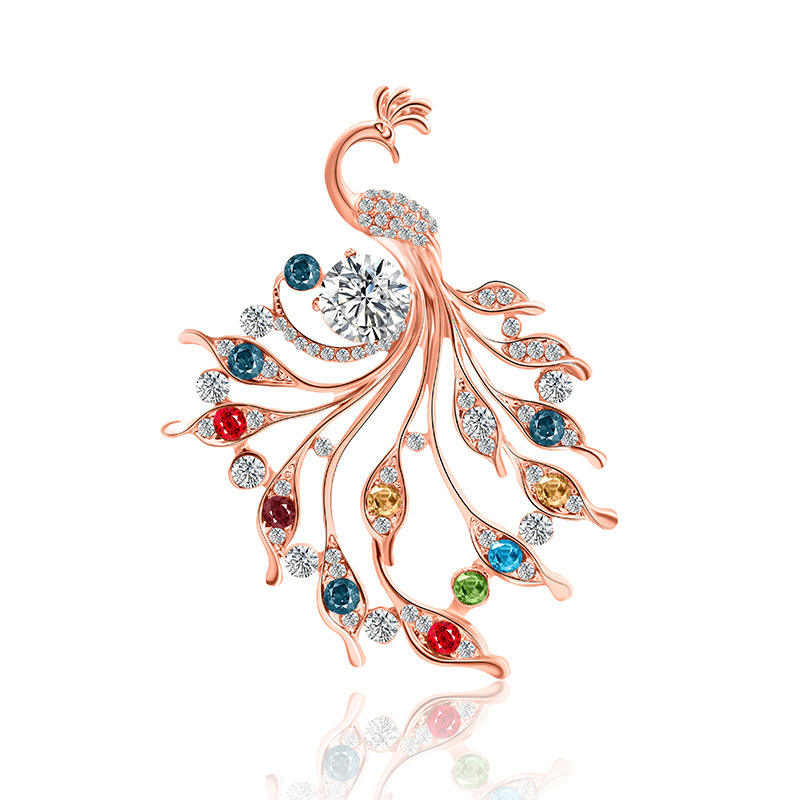 Fashion Multicolor Rhinestone Animal Peacock Brooch Pins Rose Gold Colorful Crystal Peacock Brooch